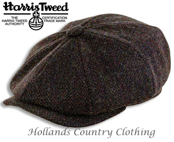 Eight Segment Baggy Button Cap  in finest Harris Tweed barley corn brown tweed