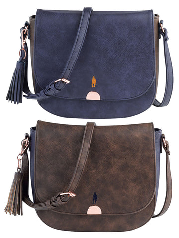 Jack Murphy Ace Shoulder Bag in navy and tand and tan and navy