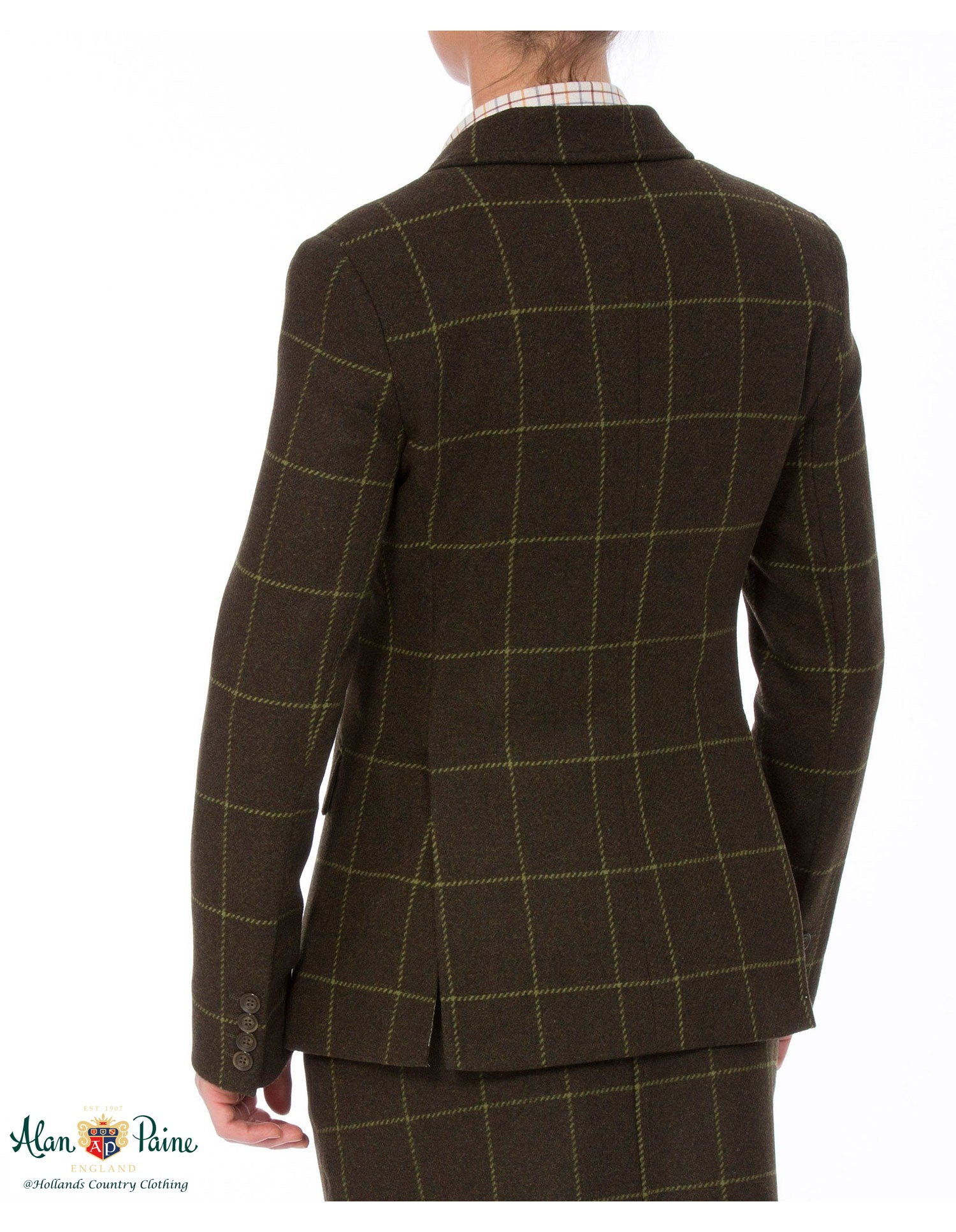 rear view Alan Paine Combrook Tweed Blazer avocado tweed