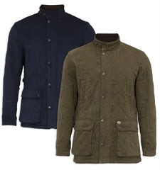 Alan Paine Felwell Quilted Jacket in Navy and Olive