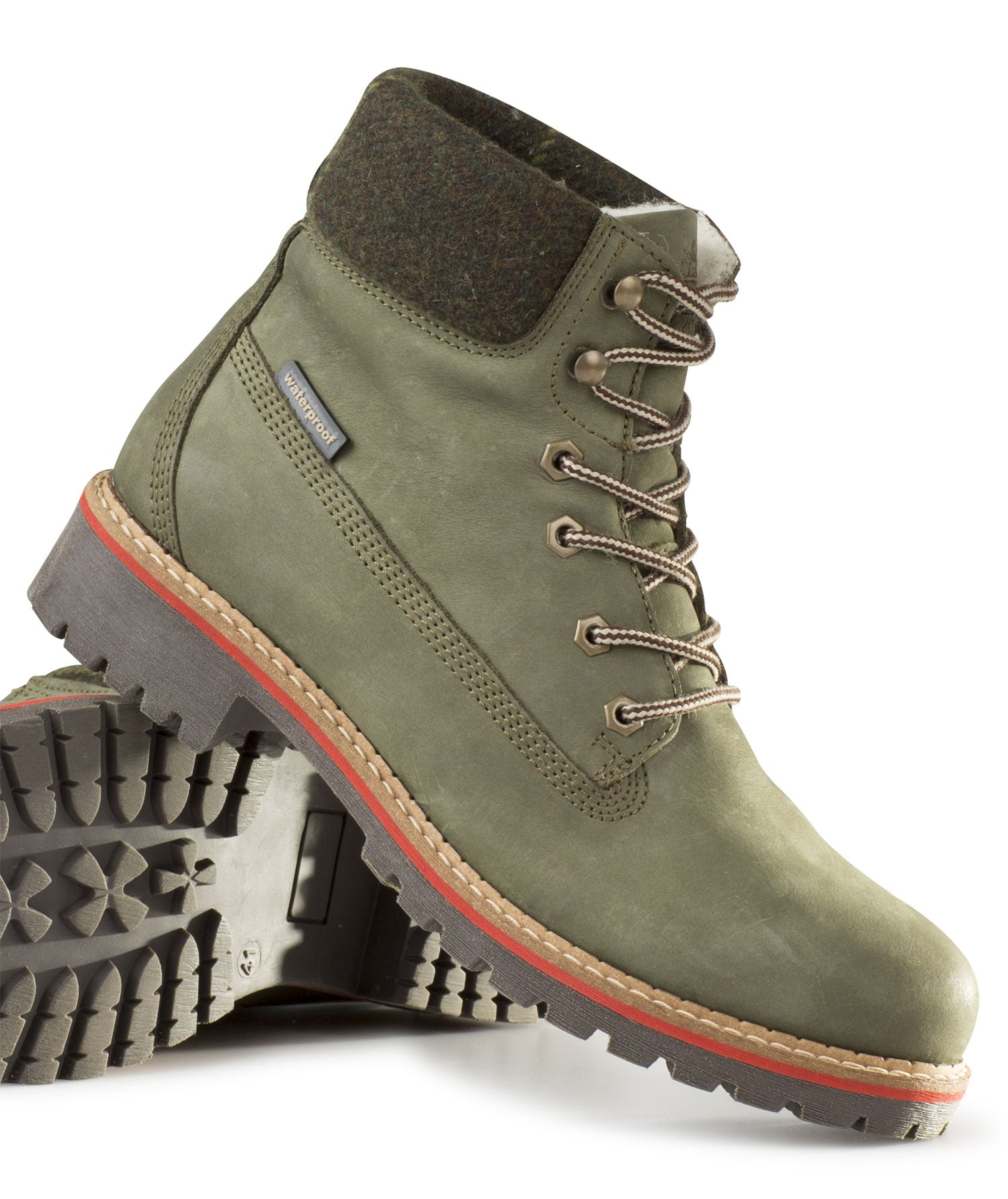 Alan Paine Ladies Lace Up Waterproof Boot in olive nubuck