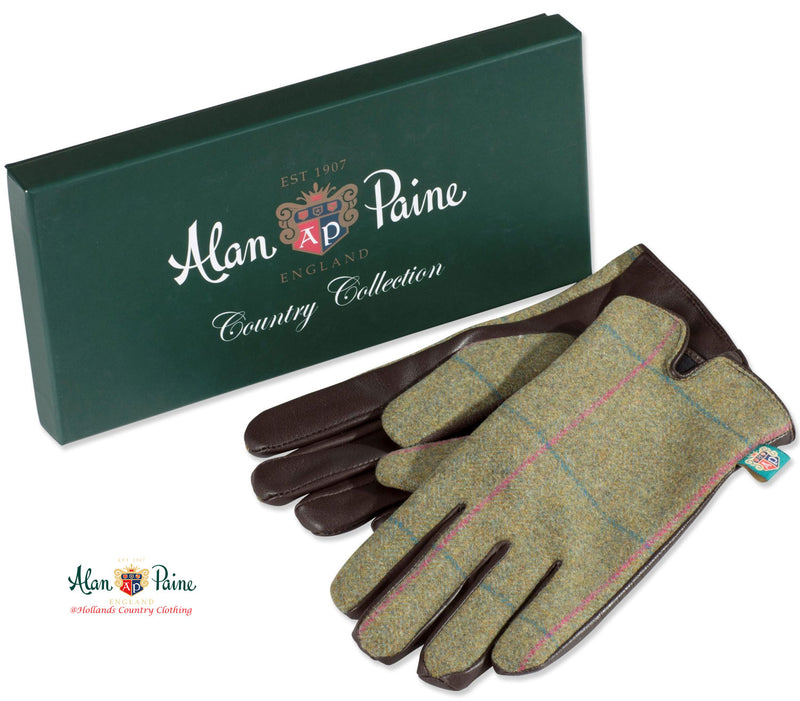 showing box Alan Paine Combrook Ladies Tweed Gloves | Juniper