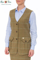 Lady wearing Combrook Meadow Tweed Tailored Waistcoat by Alan Paine