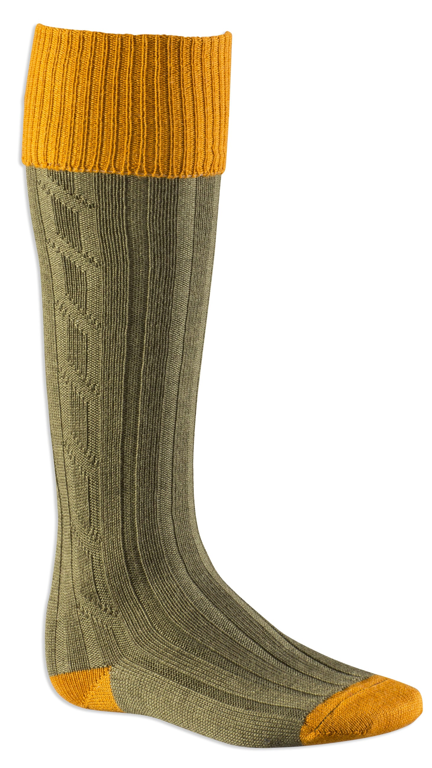 Alan Paine Men's Long Sock in ocre olive