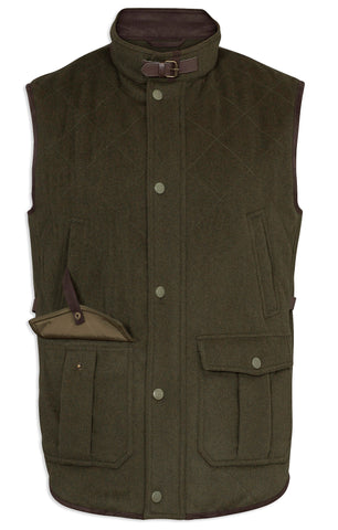 Loden Quilted Wool Waistcoat by Alan Paine