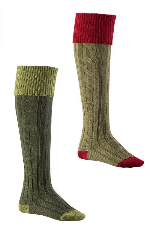 Long socks New Colours, Avocado/Spruce and Red/Olive designed to perfectly compliment the latest Alan Paine ladies tweed colour palette.