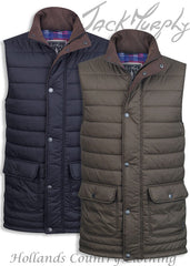 Jack Murphy Alistair Quilted bodywarmer with thick duvet padding