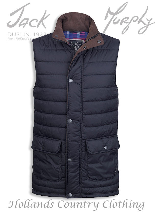 Jack murphy body warmer in navy quilted