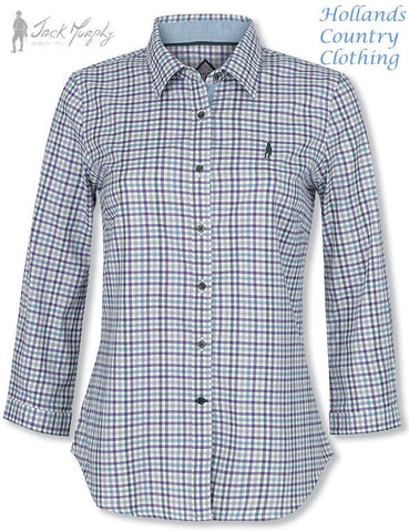 Jack Murphy ladies all cotton shirt in spring breeze check