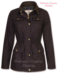 Anne marie stylish ladies waxed cotton coat in chestnut