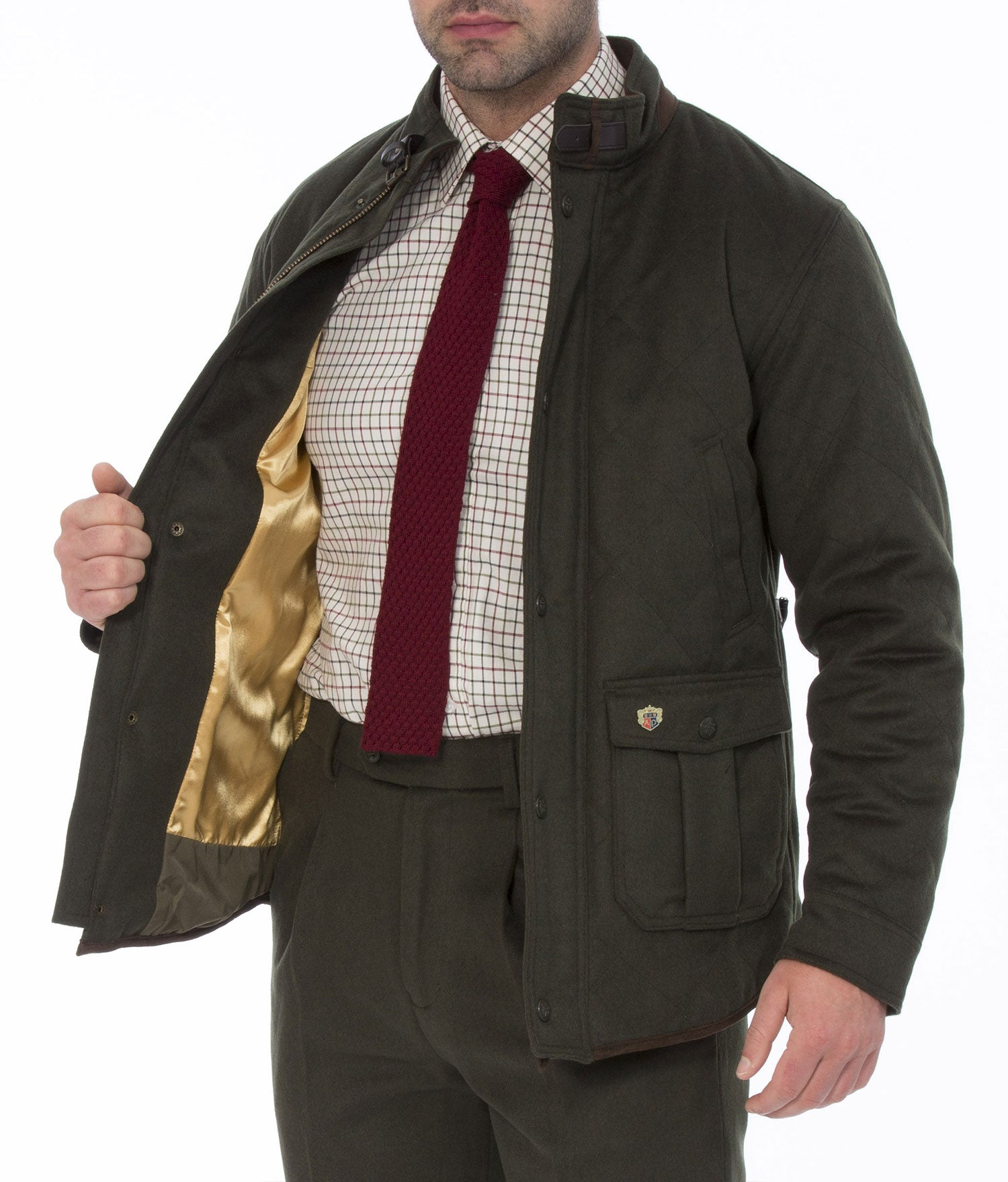 showing gold lining Alan Paine Loden Quilted Jacket