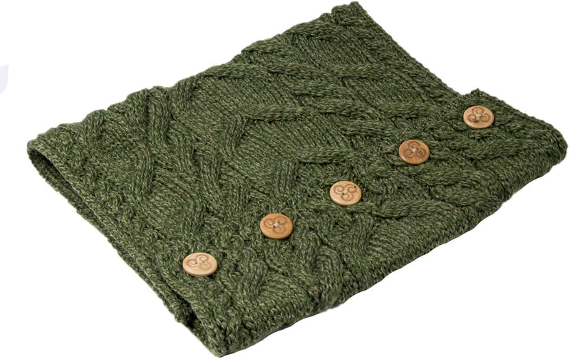 Sage Green Aran Merino Wool Button Snood