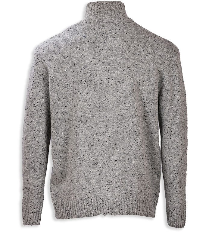 Rear view Grey Aran Wool Zip Neck Sweater