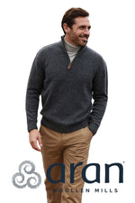 Aran Wool Zip Neck Sweater