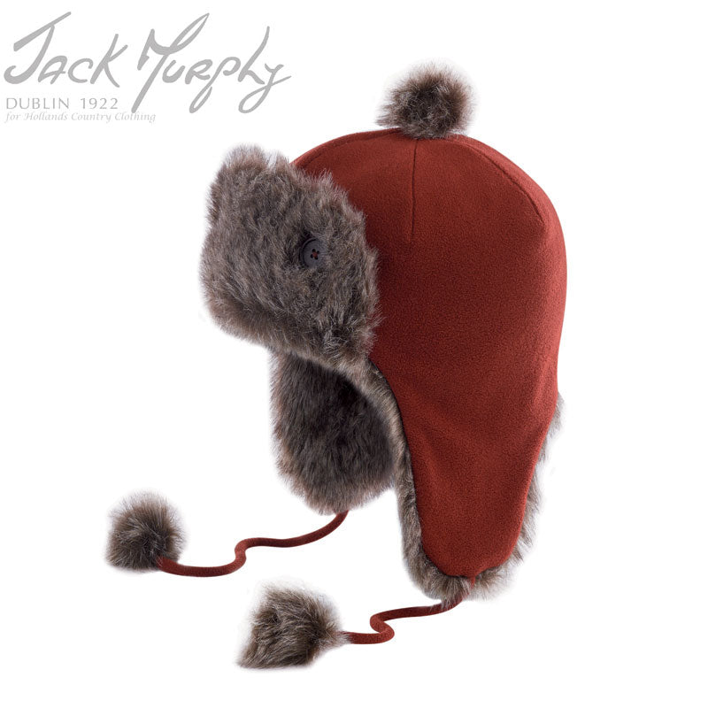 red brick Jack Murphy Arkle Faux Fur and Fleece Hat