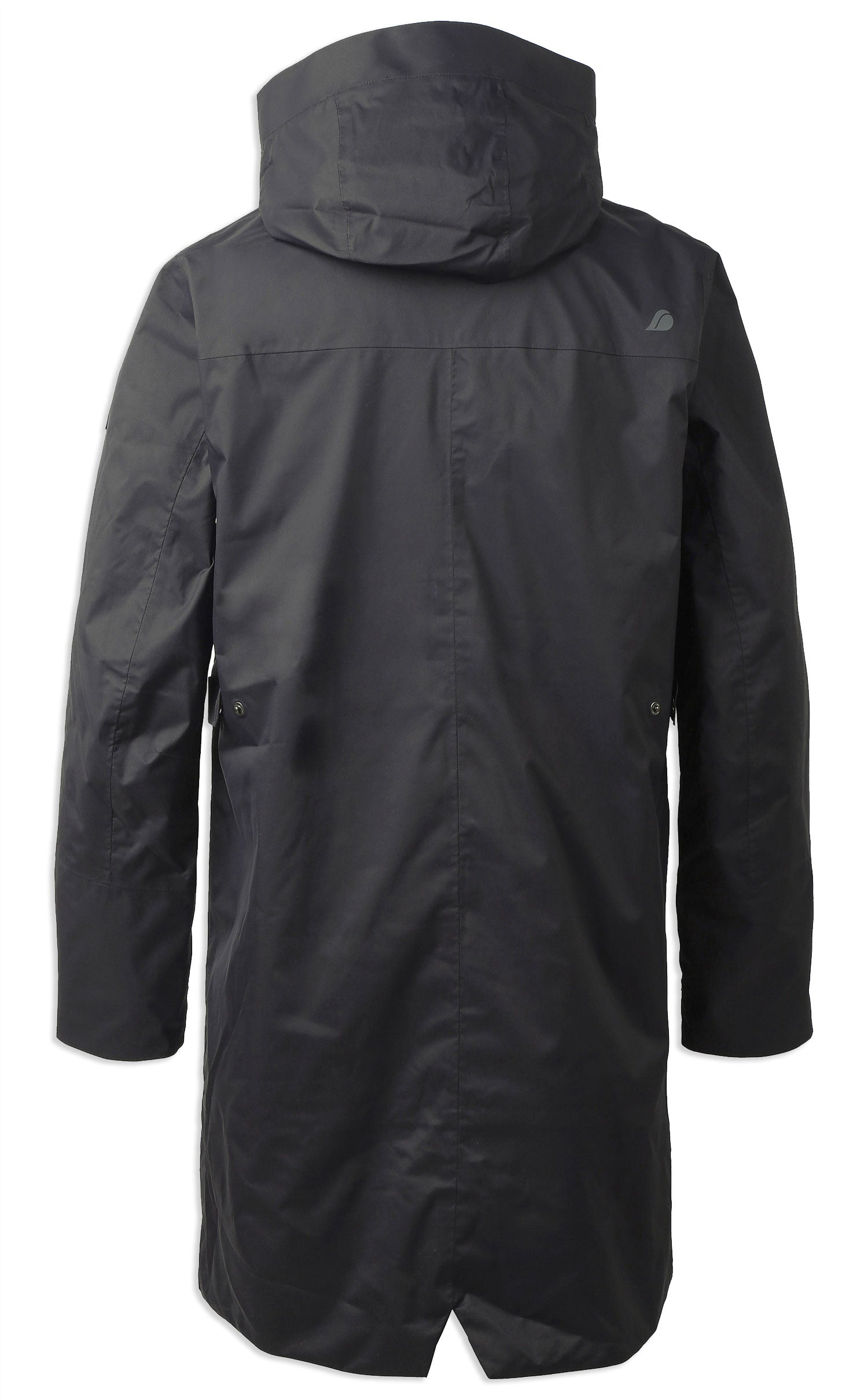 Rear view with hood Men's Arnold Waterproof Parka Coat by Didriksons in Black