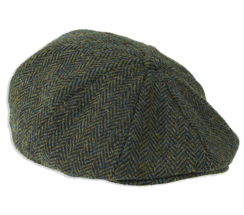 Heather Arran 8-Piece Harris Tweed Cap | Dark Green Herringbone