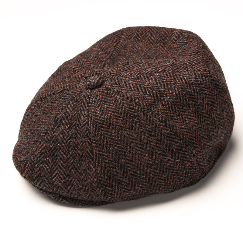 Heather Arran 8-Piece Harris Tweed Cap | Brown/Black