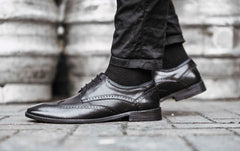 Aubyn Black Leather Brogue Shoe by Goodwin Smith