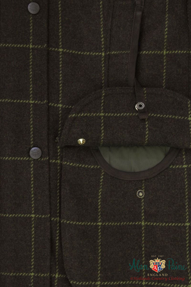 pocket  shooting jacket in Avocado green tweed