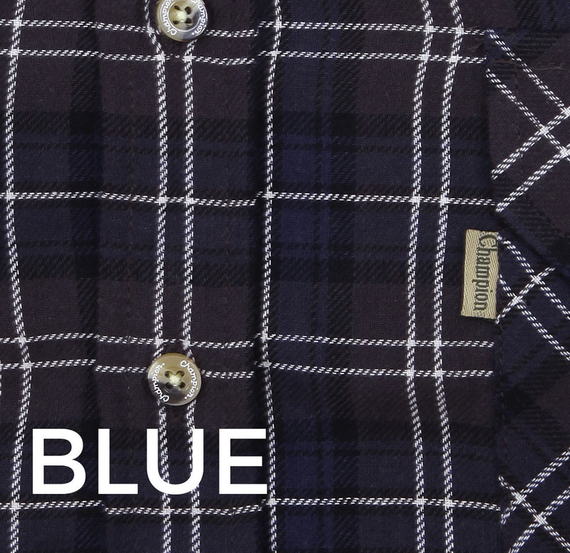 Blue black and white tartan check plaid