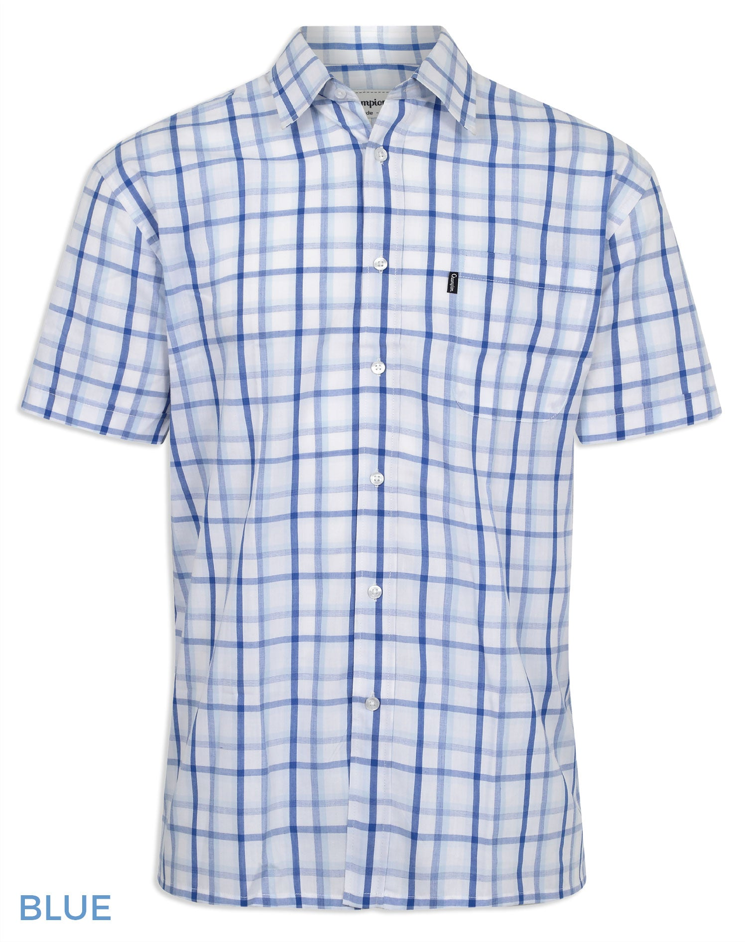 Blue Check Champion Bude Short Sleeve Shirt