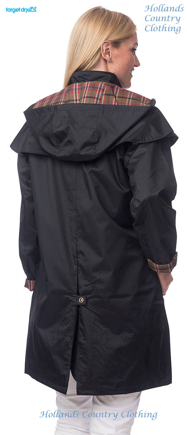 lady taken from behind wearing Target Dry Outrider 2 Three Quarter Length Waterproof Coat