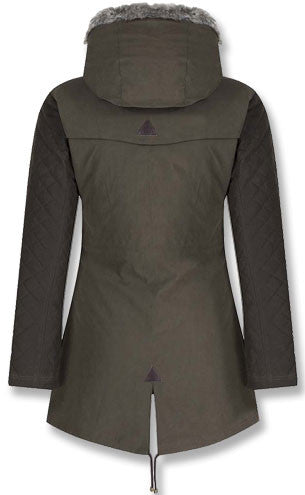 back view of jack murphy ladies parka coat