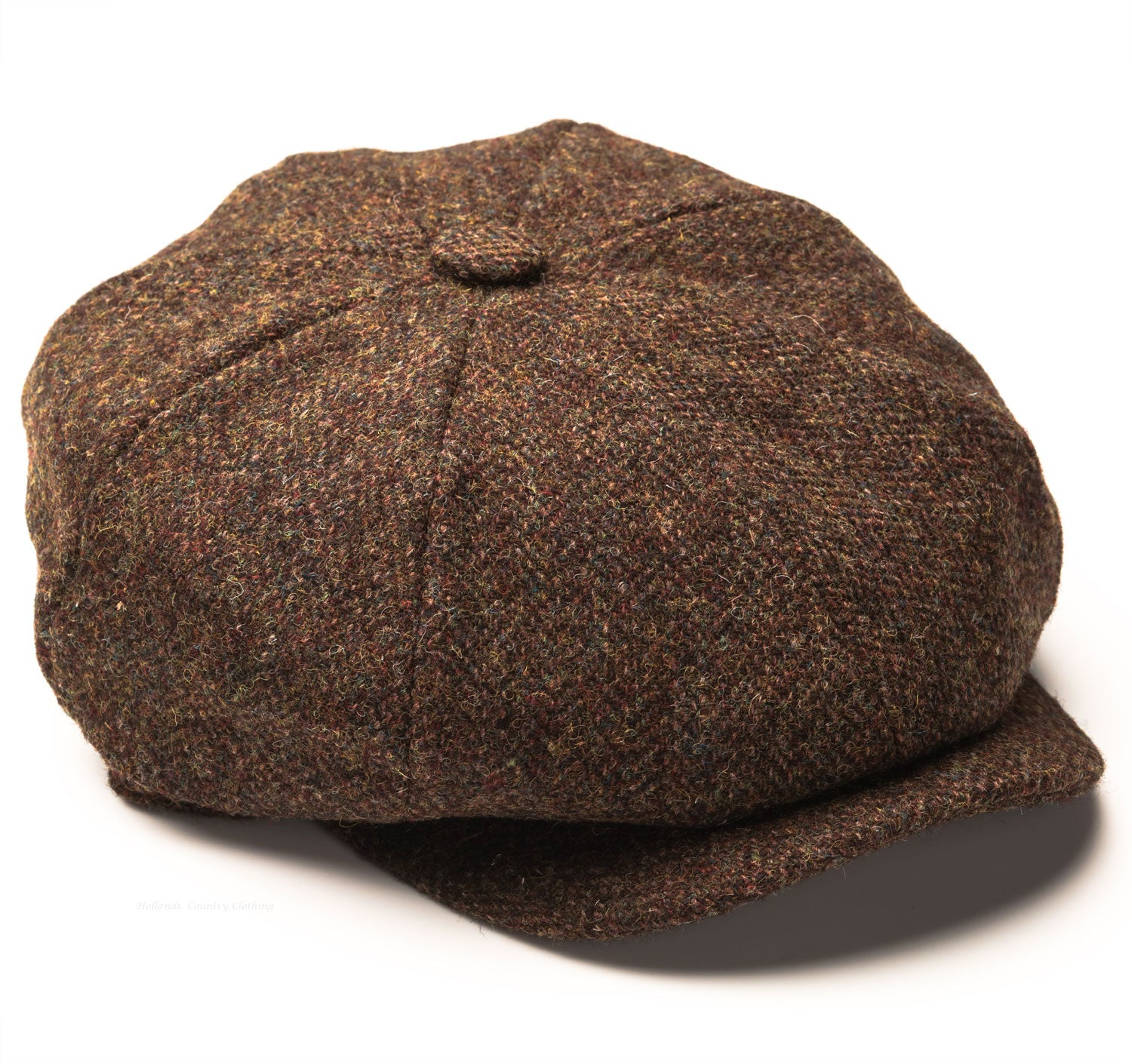 Baker's boy cap, Heather Scott Harris Tweed 8-Piece Cap | Olive/Brown Mix