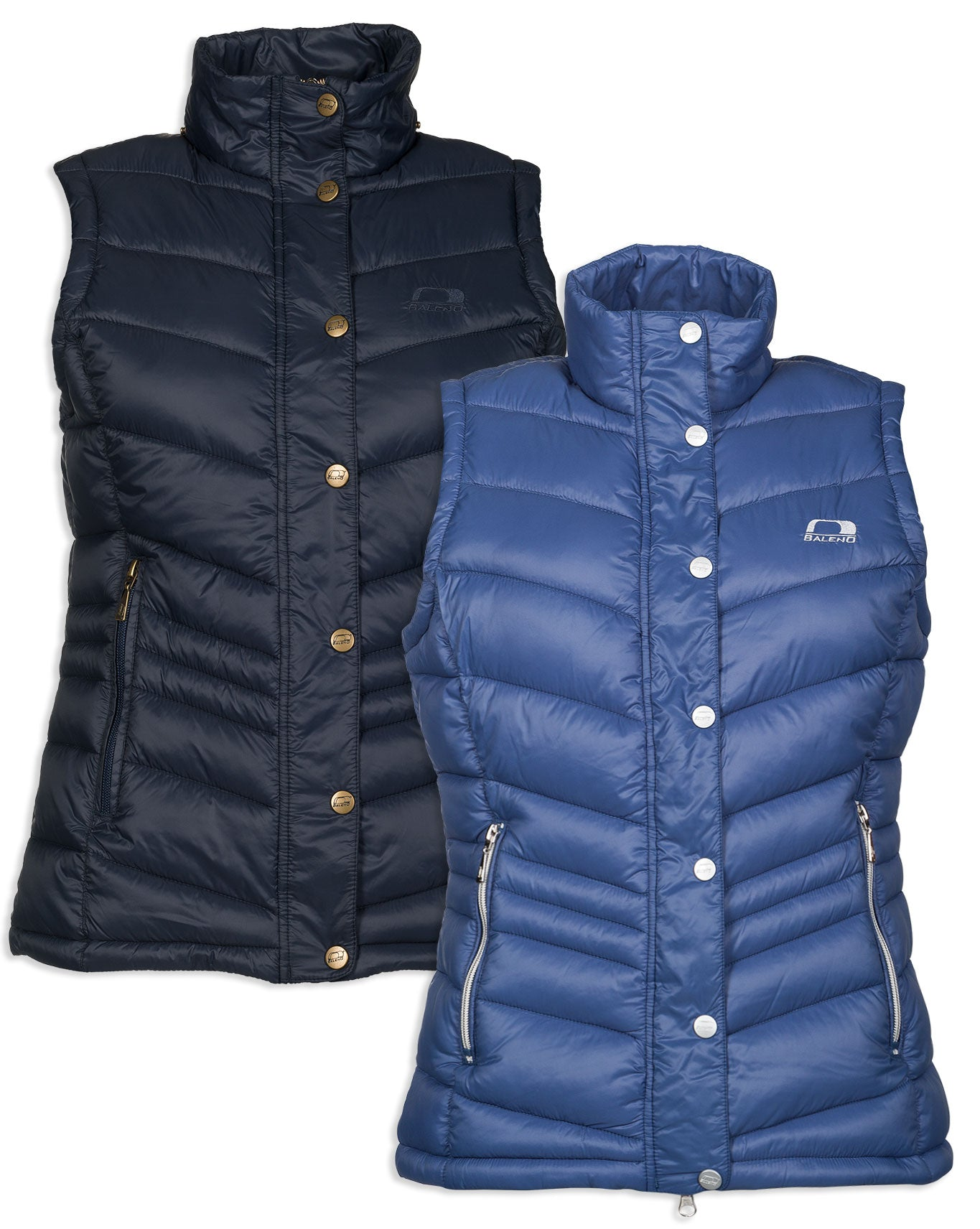 Baleno Astrid Quilted Gilet in blue and navy