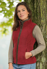 burgundy red Sally Fleece Waistcoat by Baleno