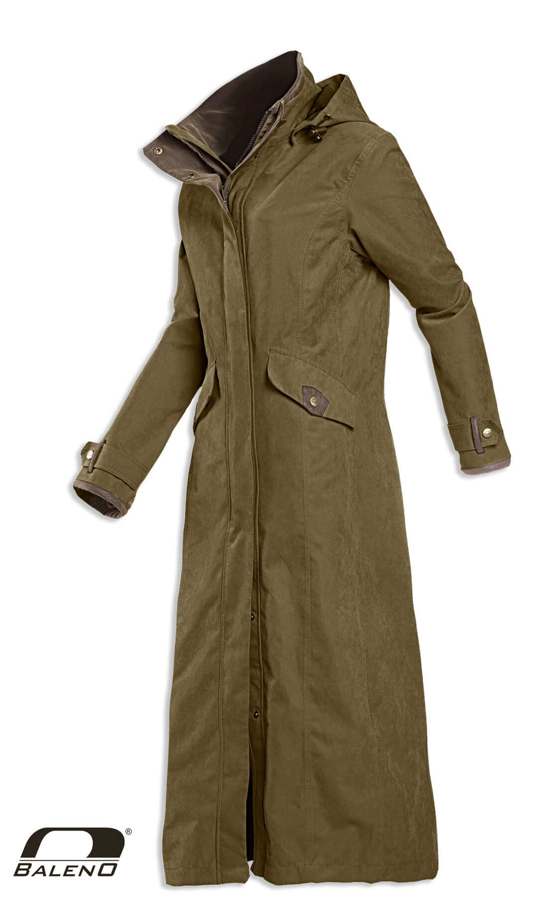 three quarter length Baleno Kensington Long Waterproof Coat GREEN