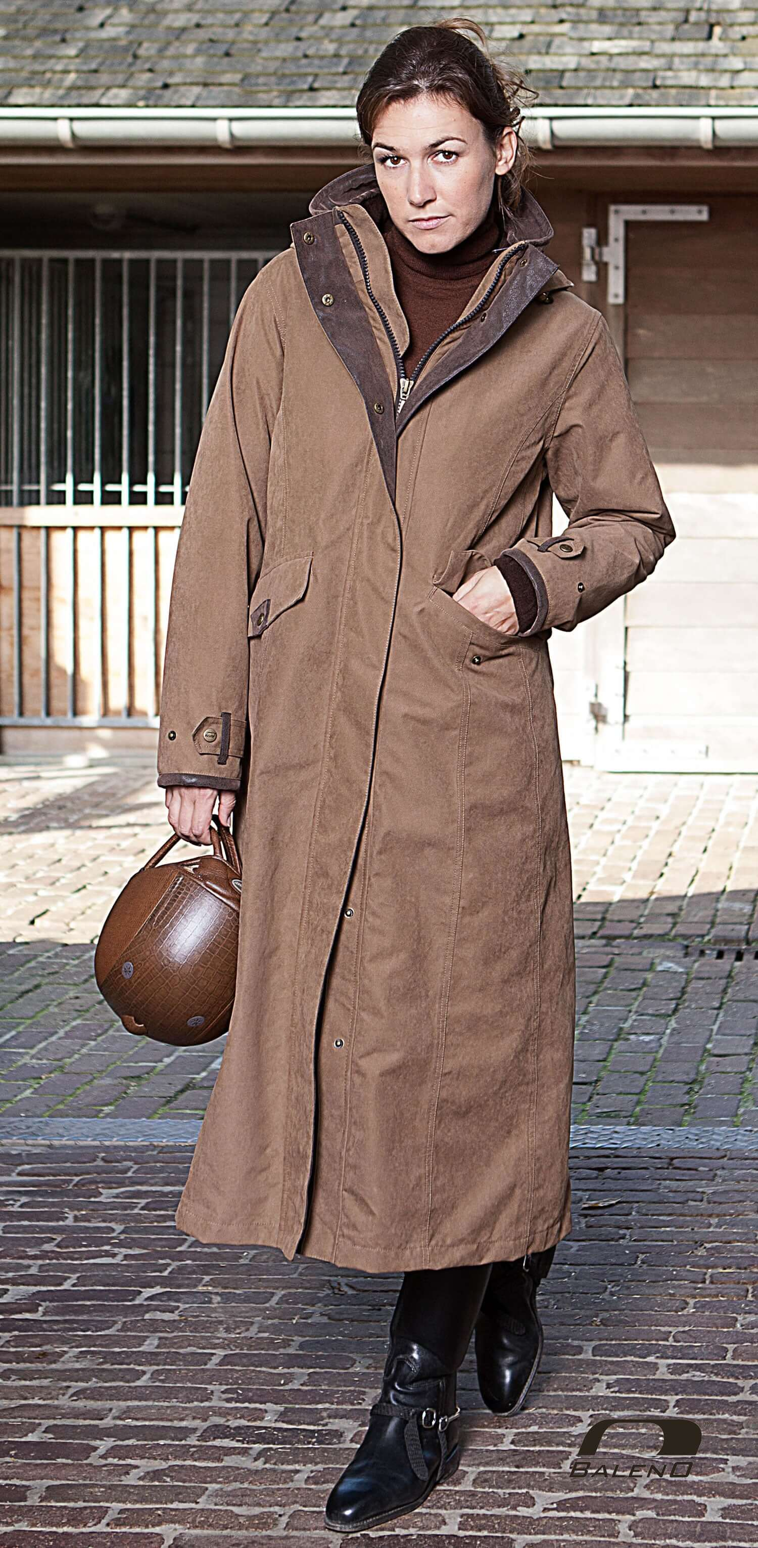 riding mac brown Baleno Kensington Long Waterproof Coat