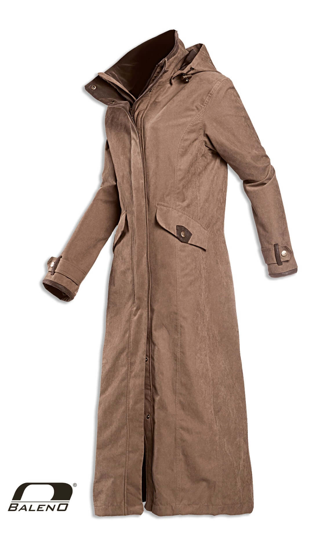 Camel colour full length waterproof coat
