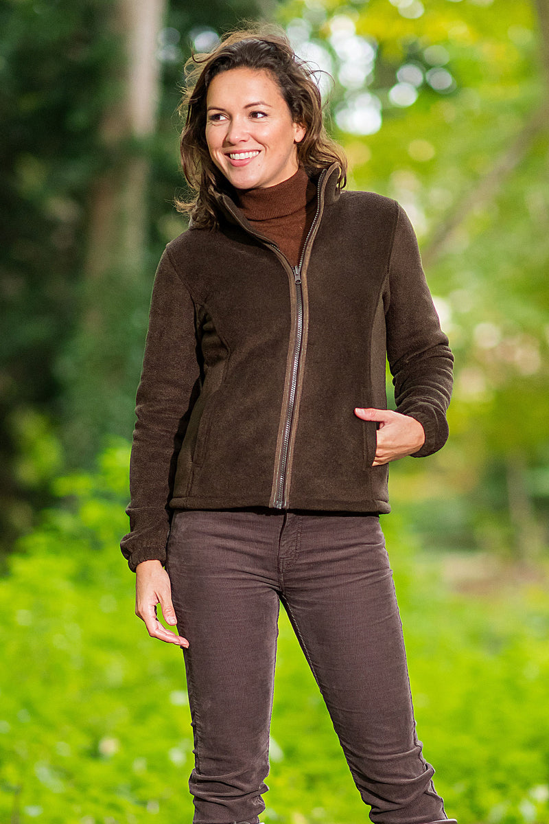 lady on a walk wearing fleece jacket