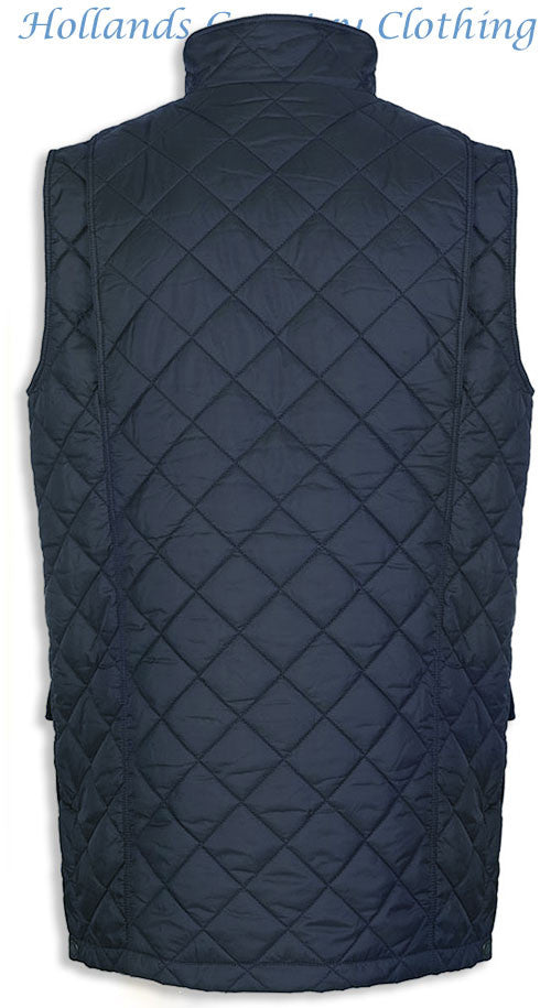 back view of barry quilted gilet