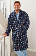 Man's Champion Bayswater Fleece Dressing Gown in navy check