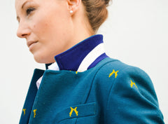 with collar turned up Sporting Hares Beauchamp Blazer | Royal Teal