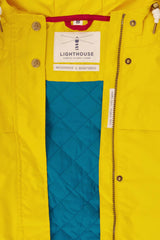 yellow with green lining Beaufort Waterproof Jacket by Lighthouse