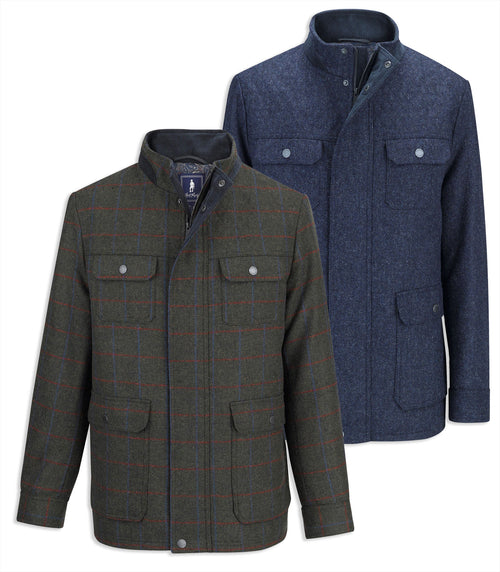Jack Murphy Benedict Tweed Jacket in green and navy tweed variations