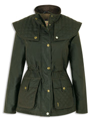 Jack Murphy Bernadette Waxed Jacket with cape in olive green classic country wear