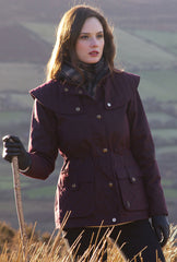 Jack Murphy Bernadette Waxed Jacket in deep claret colour