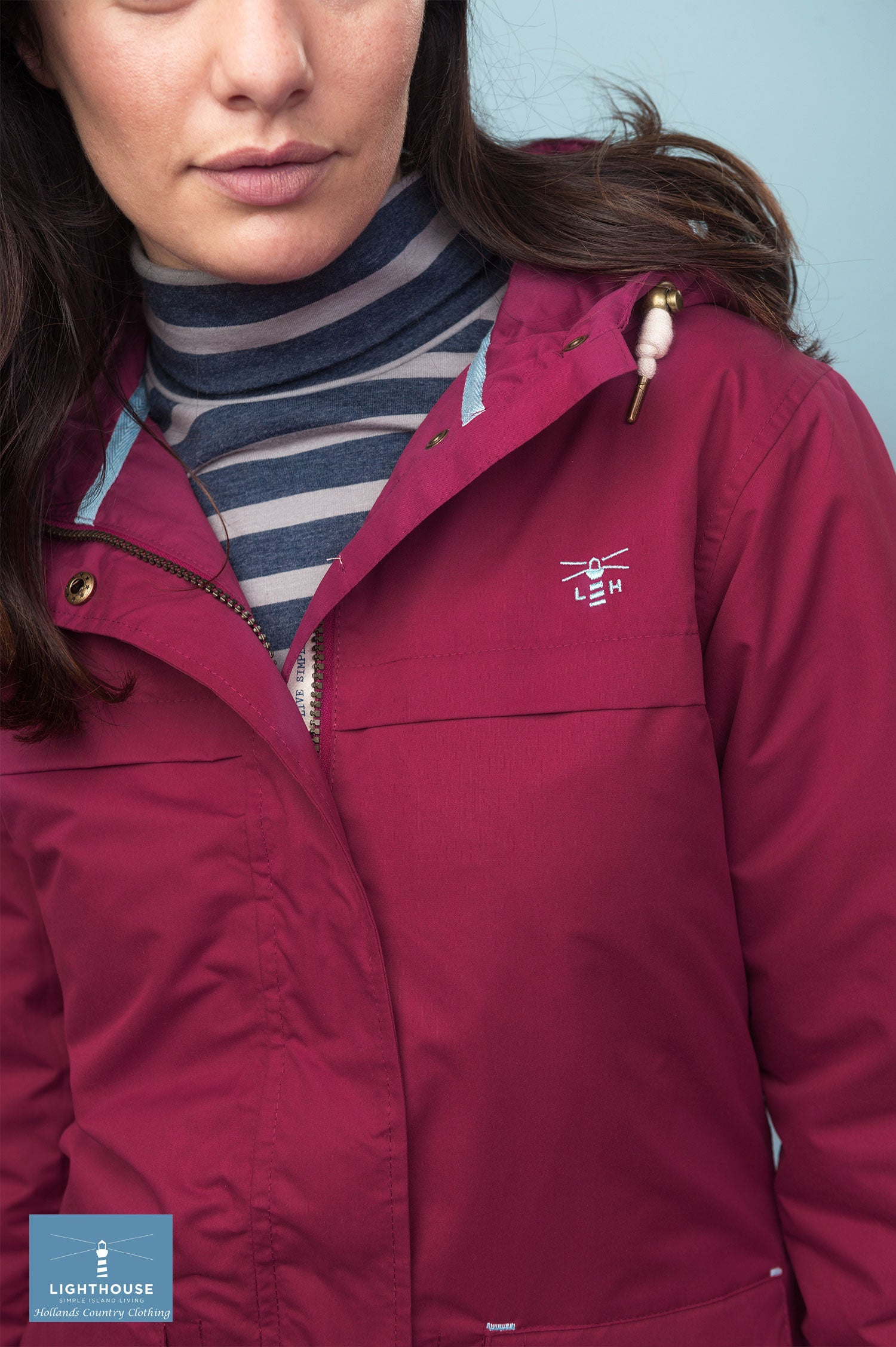 collar detail Beaufort Waterproof Jacket by Lighthouse