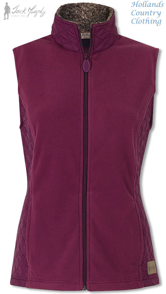 BETTY Roasted Aubergine Ladies' Fleece GILET JACK MURPHY BOD 103