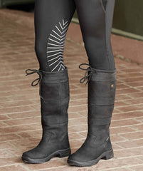 Black leather country boots