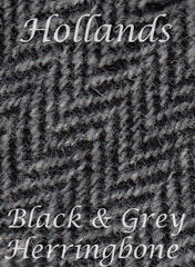 Black and Grey herring bone Harris wool tweed