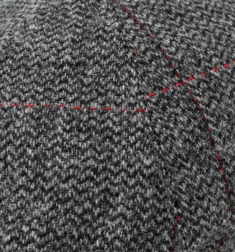 Black and Grey Herringbone with Red Overcheck