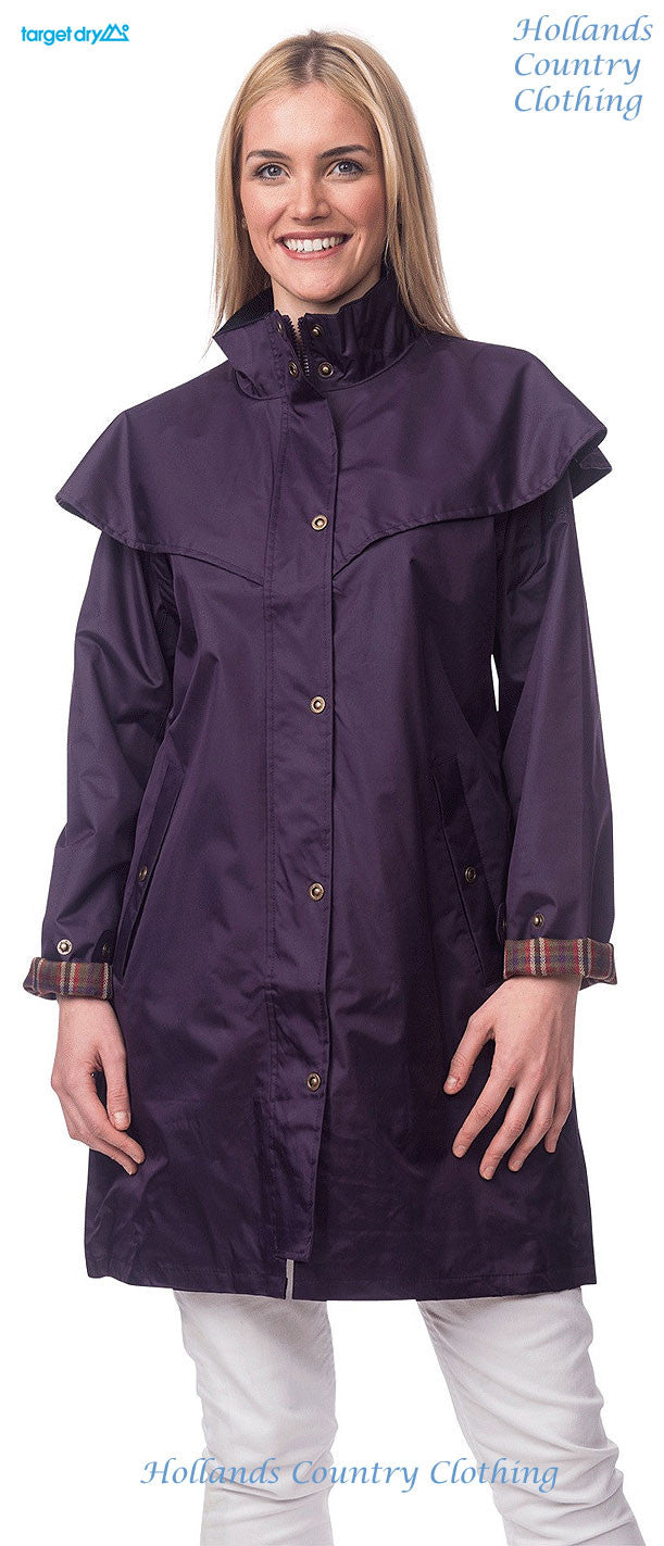 lady wearing in blackberry Target Dry Outrider 2 Three Quarter Length Waterproof Coat