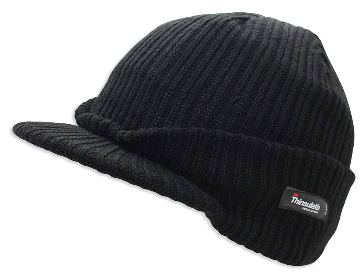 Thinsulate Knitted Peaked Watch Cap in black