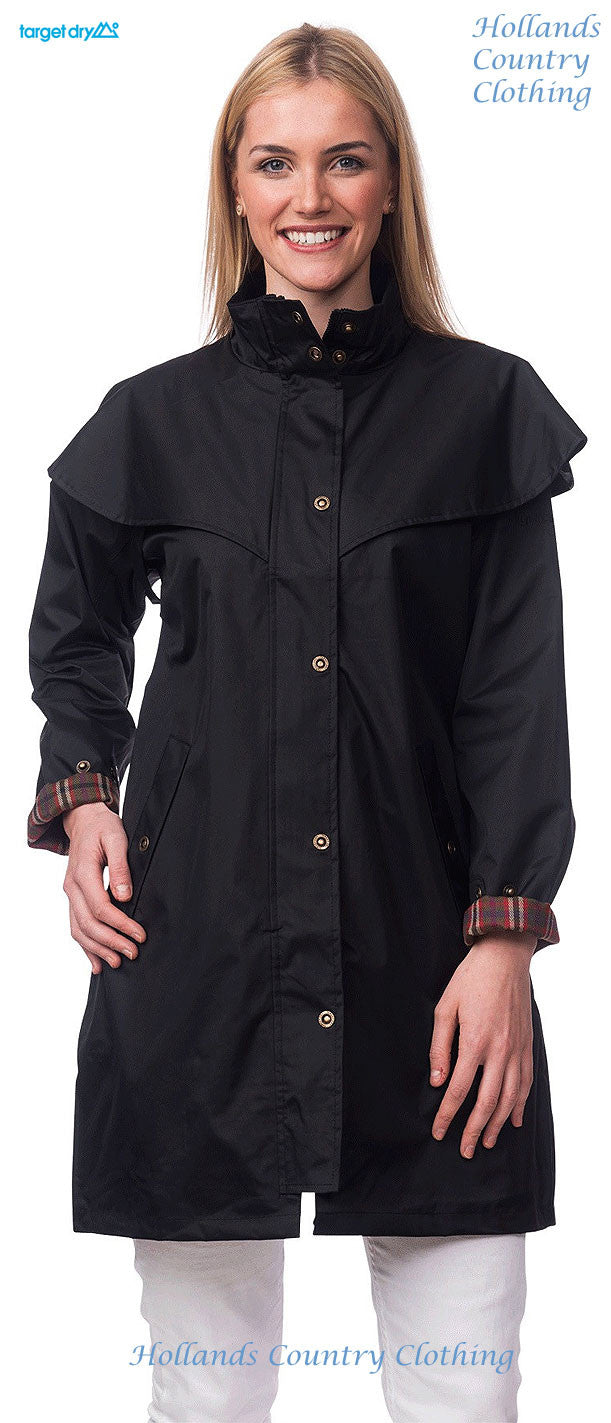 lady in black Target Dry Outrider 2 Three Quarter Length Waterproof Coat